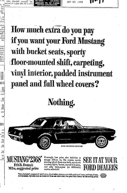 1964 Ford Mustang Ad | Jerry's Automotive Group | www.jerrysauto.com | Jerry's Ford of Alexandria | www.jerrysford.com | Jerry's Ford of Leesburg | www.jerrysflm.com