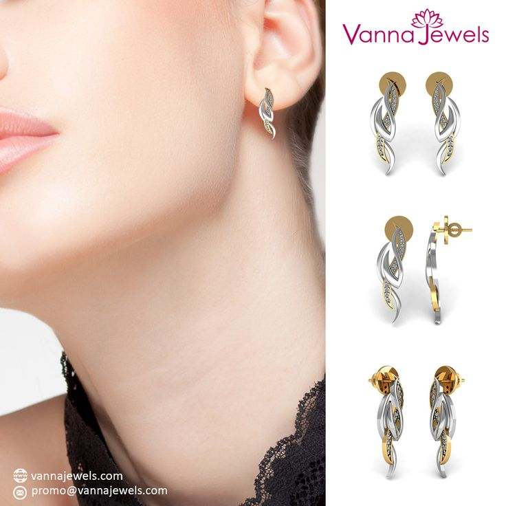 Designer Stud Earrings Set in Certified Diamond and Solid Yellow Gold Authentic Jewelry