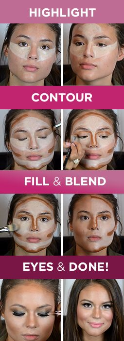 To highlight, use a color two shades lighter than your skin tone, and use one two shades darker to contour → http://youtu.be/_dLSy75M46o