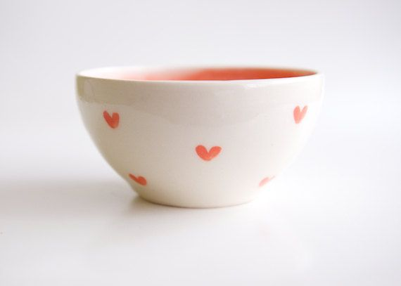 Heart Bowl in White and Coral Vintageinspired pottery by RossLab, $28.00
