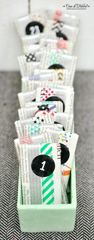 homemade advent calendar washi tape newsprint wrap: