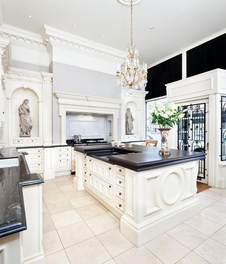 clive christian architectural kitchen in antique ivory looking towards mantle - Clive Christian Kitchen Cabinets