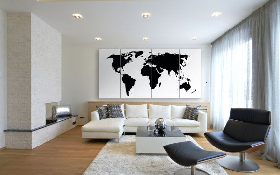 Large Black World Map Wall Art Modern map of the von TexelPrintArt
