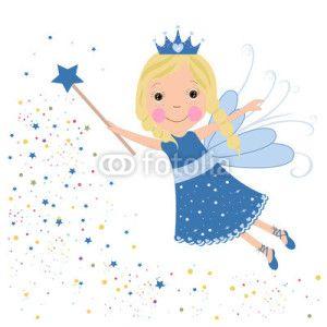 Peri Kızı Vektör Tasarımlarım * Cute fairytale blue stars shining vector