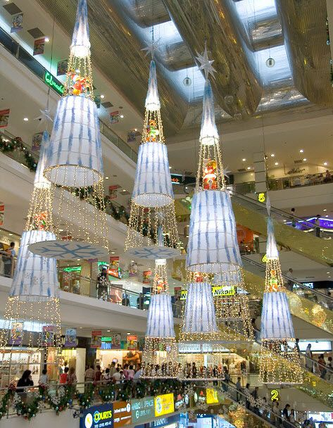 48 best shopping mall decoration images on pinterest for Retail christmas decorations ideas