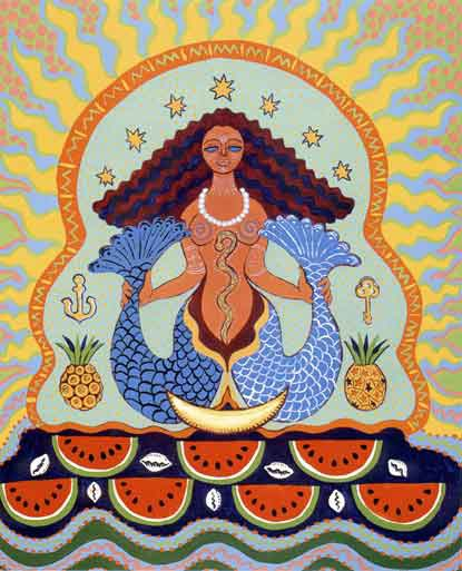 Yemaya. (La Virgen de Regla) - She is the owner of the ocean/seas. The goddess of extreme wealth and power, she is the mother of all the other Orishas.