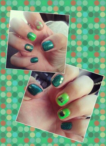 My St. Patricks Day gel nails!! I love being a nail technician =)