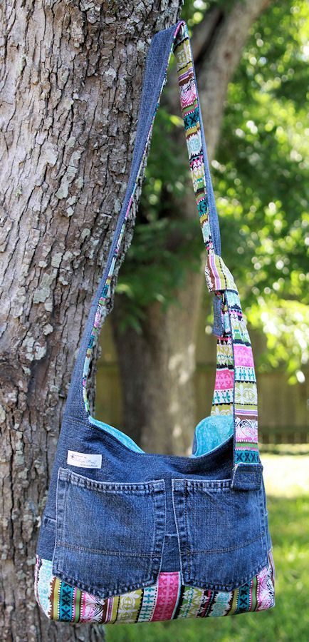Denim Upcycled / Recycled Purse with Hidden Pocket - Bright Stripes:
