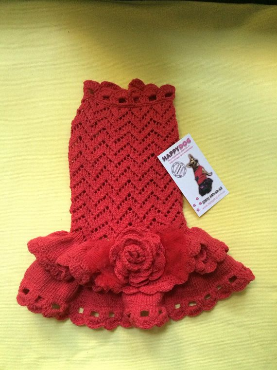 Red color designer hand knitted dog dress with por AnnaHappydog