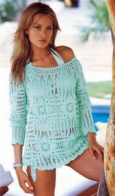 Receitas de Crochet: Saída de praia de crochet