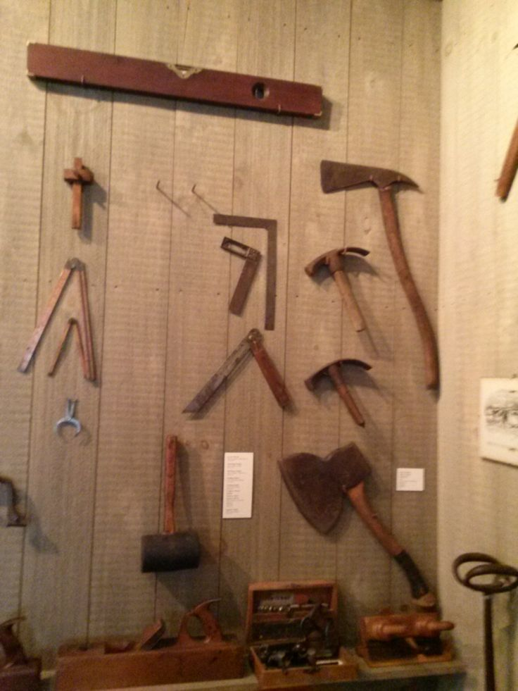 Photo taken in 2014: From the Tool Room at Atwood House Museum, Chatham, MA. Various hatchets, rulers and a level. #atwoodhouse, #chathamhistoricalsociety, #chatham, #capecod, #tool, #antique