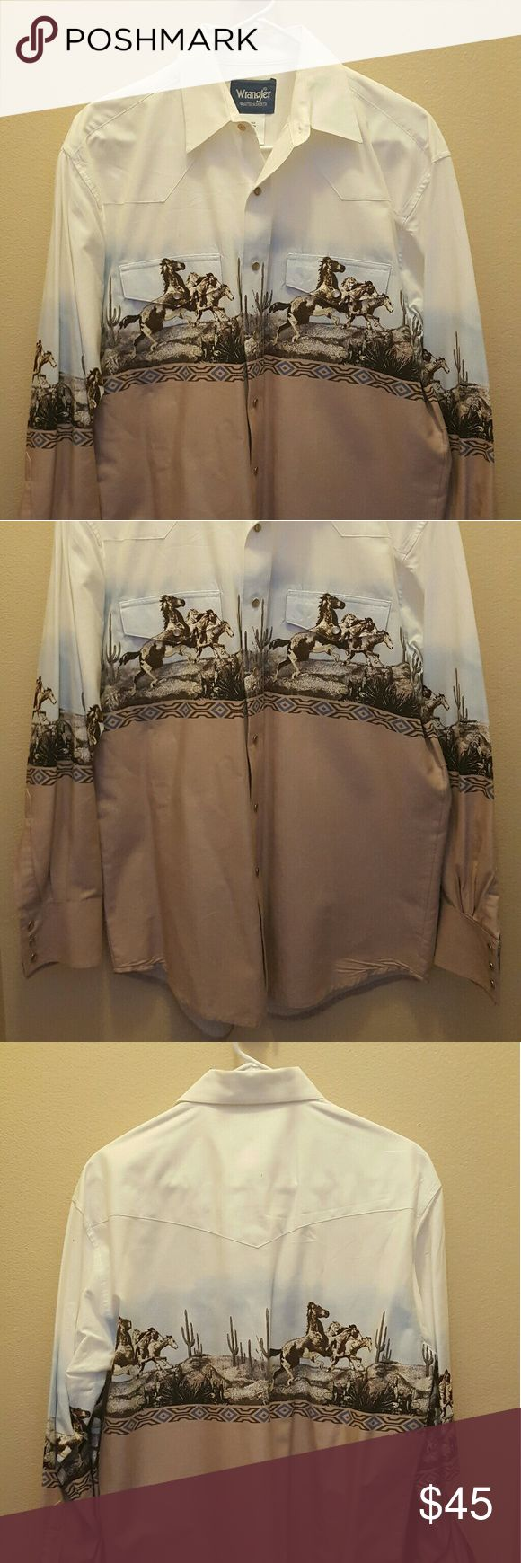 Western Shirt w Horse Print Wrangler Dress Shirt Wrangler Shirts Dress Shirts