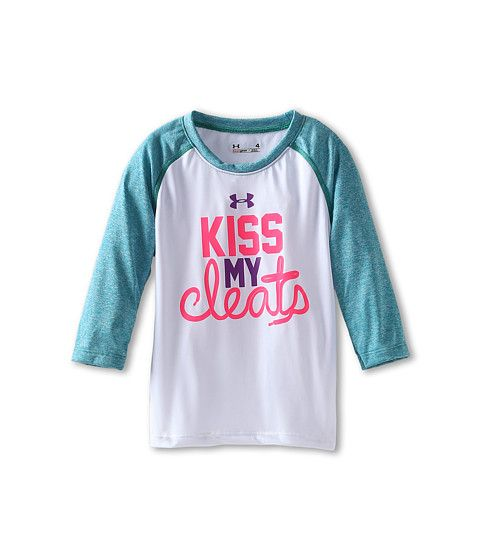 Under Armour Kids Kiss My Cleats Raglan (Little Kids) White - Zappos.com Free Shipping BOTH Ways