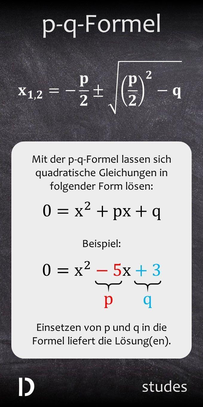 Die P Q Formel Studes In 2020 Quadratische Gleichungen Losen Gleichungen Losen Gleichungen
