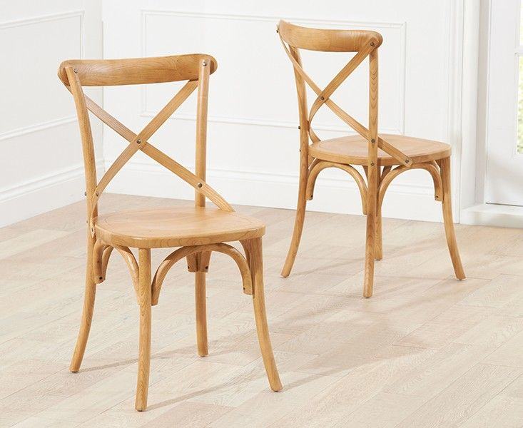 Buy the Marseille French Style Cross Back Dining Chairs at Oak Furniture Superstore