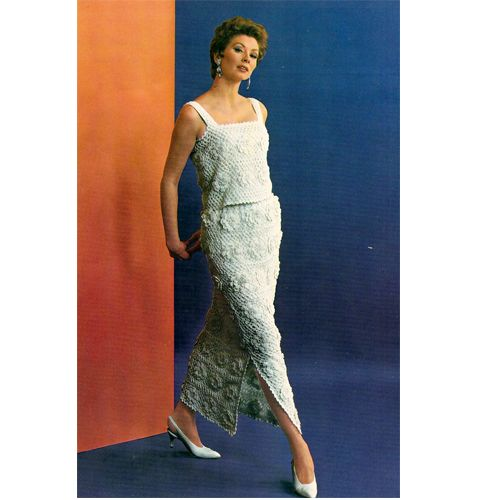 Irish Crochet Evening Dress Pattern S-M-L Light and airy, this is a lovely crocheted dress, elegant enough for an evening affair.  This lined two piece dress is Irish Crochet  in floral 4 inch blocks.