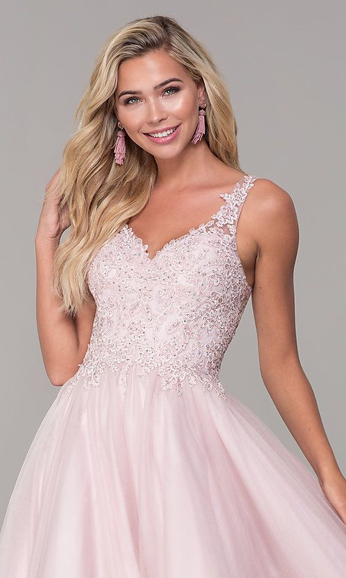 ed0d3683f3d8 Image of long dusty pink tulle v-neck prom dress. Style: DQ-2626 Detail  Image 1