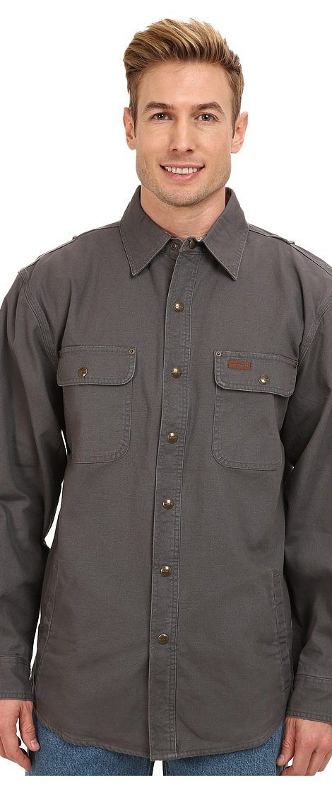 Carhartt Weathered Canvas Shirt Jacket (Gravel) Men's Coat - Carhartt, Weathered Canvas Shirt Jacket, 100590-039, Apparel Top Coat, Coat, Top, Apparel, Clothes Clothing, Gift - Outfit Ideas And Street Style 2017