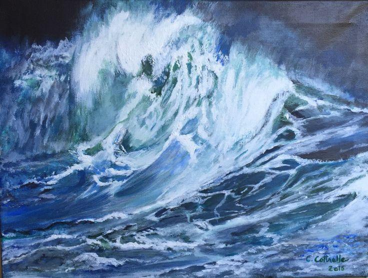 Vague colorée dans la nuit (Peinture),  40x30x2 cm par Christelle Cottrelle Peinture acrylique. Vague colorée éclairée dans la nuit.