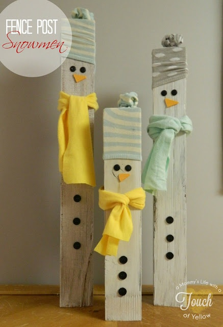 A mommy's life...with a touch of YELLOW: Fence Post Snowmen