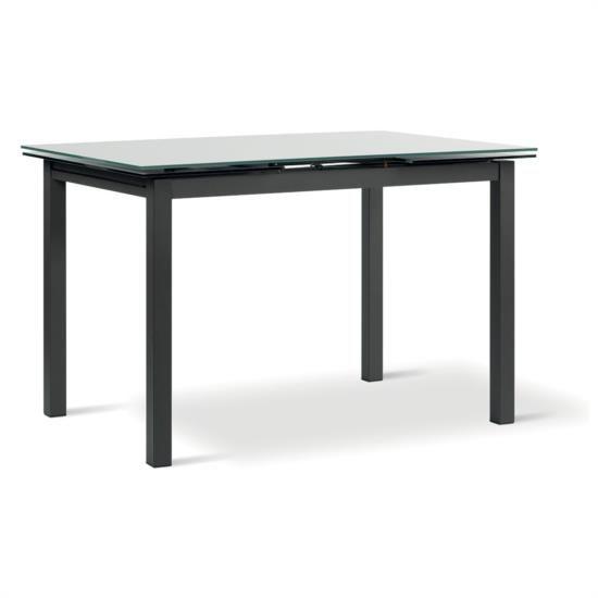 Tavolo in metallo laccato con piano ed allunga in vetro temperato