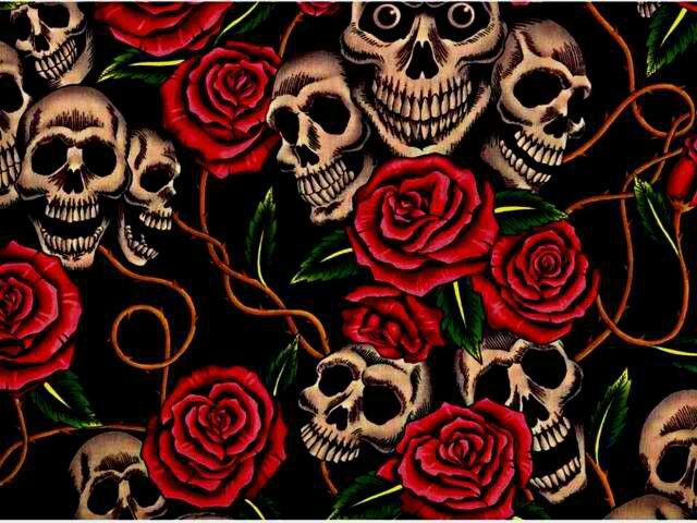 skull and roses wallpapers - photo #5