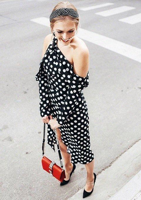 292bc3088f #women #party Long #dress Foldover #knot Asymmetric #shoulder #polkadots Dot  Dress Black and White Long Sleeve #pencil Dress
