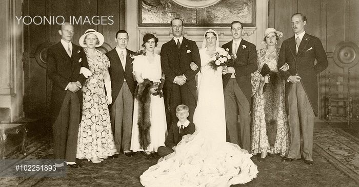 Yooniq images - Wedding of Princess Theodora of Greece (1906-69), sister of the current Duke of Edinburgh, Prince Philip, to Prince Berthold, Margrave of Baden in 1931. Theodora was the second child of Prince and Princess Andrew of Greece (Alice of Battenberg). The bride is next to her father and next to him is her elder sister, Princess Margarita of Greece, later Princess of Hohenlohe-Langenburg.