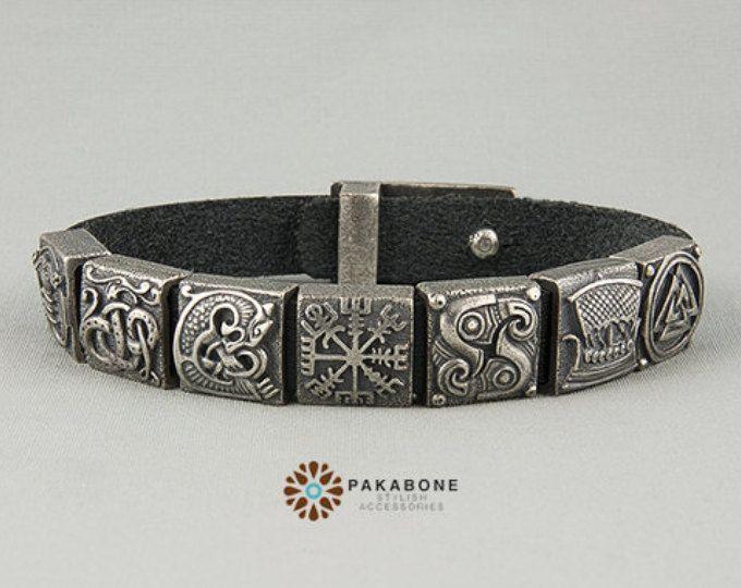 Viking Armband mit Sterling Silberperlen: Irminsul Jormungandr Fenrir, Vegvisir, Huginn und Muninn, Drakkar, Valknut