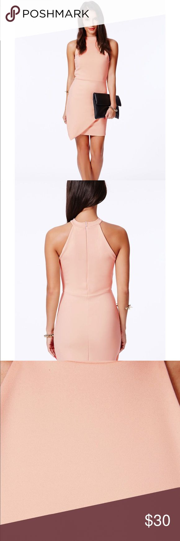 New Missguided Faustina Coral High Neck Dress NEW bodicon asymmetric dress! Perfect for special occasions or a night out. Pairs perfectly with black ankle strap heels and a black clutch. Missguided Dresses
