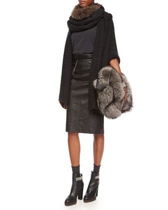 Hooded Piuma-Link Poncho, Matte Silk Turtleneck Top, Leather Pencil Skirt & Accessories by Brunello Cucinelli at Neiman Marcus.