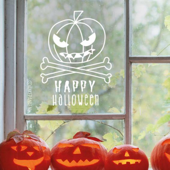 Brrr, een enge pompoen met tanden! Leuke #raamtekening als decoratie voor een halloween feestje.