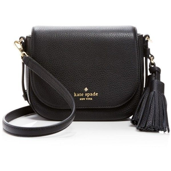 kate spade new york Orchard Street Small Penelope Crossbody (€245) ❤ liked on Polyvore featuring bags, handbags, shoulder bags, black, kate spade crossbody, kate spade, tassel handbag, cross body and pebbled leather handbag