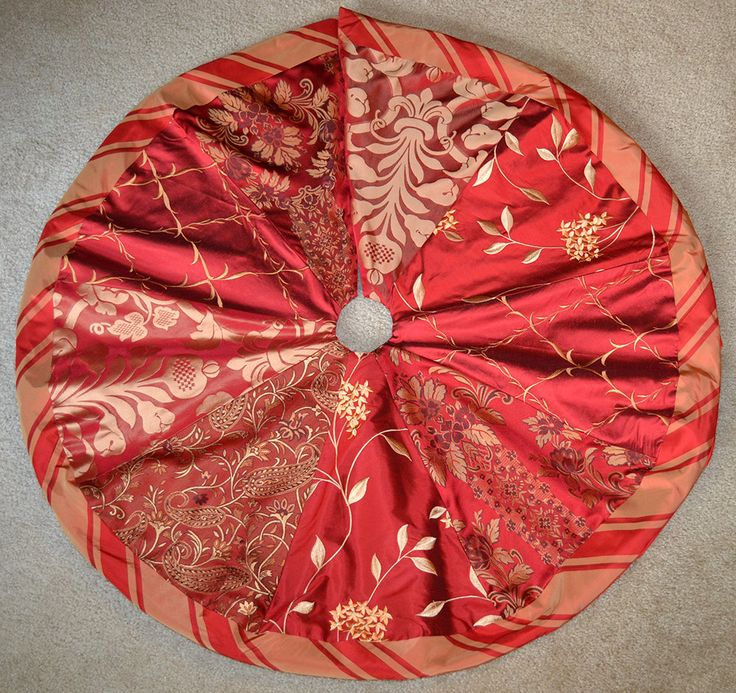 Red And Gold Silk Handmade Christmas Tree Skirt By LauraStripling On Etsy