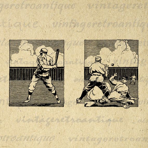 Baseball Printable Image Digital Baseball Players Download Sports Graphic Antique Clip Art Jpg Png Eps 18x18 HQ 300dpi No.3644 @ vintageretroantique.etsy.com #DigitalArt #Printable #Art #VintageRetroAntique #Digital #Clipart #Download