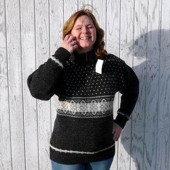 NORWOOL Uldsweater, koksgrå m. mønster, 100% uld