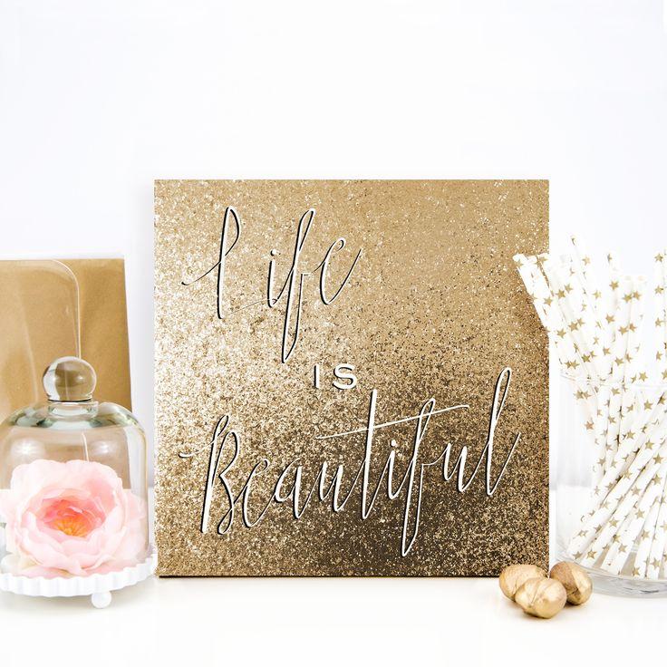 Wynwood Studio 'Life is Beautiful' Glitter Canvas Art