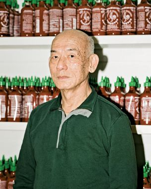 This is David Tran, the man who created the almighty rooster sauce, standing in front of what I wish was my pantry. Check out this excellent article from Bloomberg Businessweek that details the history of his family, his company Huy Fong Foods, and of course... his delicious Sriracha. ALL HAIL DAVID TRAN.