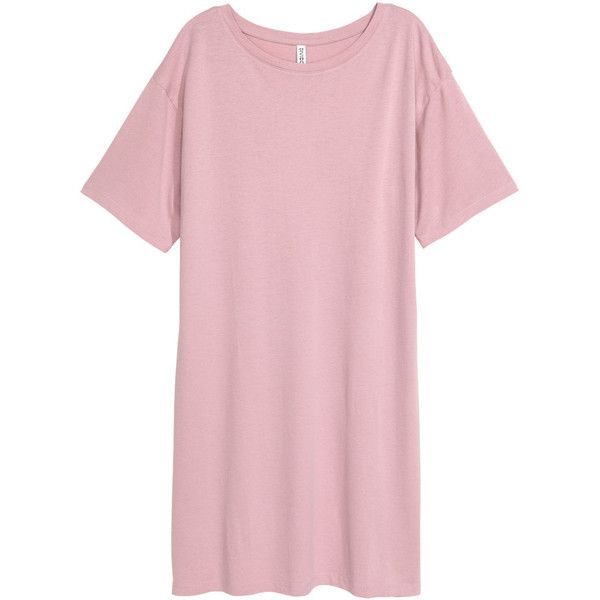 T-shirt Dress $14.99 ($15) ❤ liked on Polyvore featuring dresses, tee dress, short-sleeve dresses, t-shirt dresses, short sleeve dress and pink t shirt dress