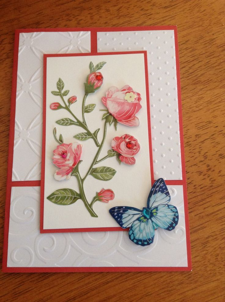 Floral card using embossing folders and 3d flower spray