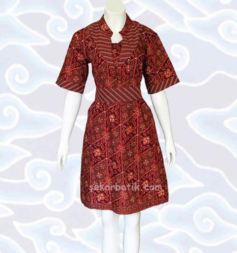 dress batik modern marun BD26  di katalog http://sekarbatik.com/dress-batik/