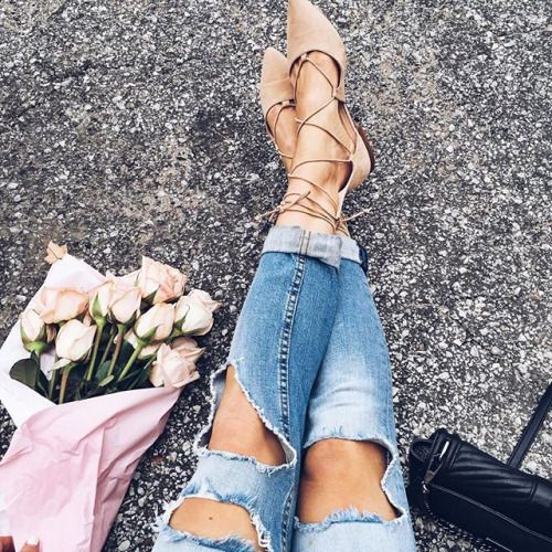 ripped jeans and lace up flats