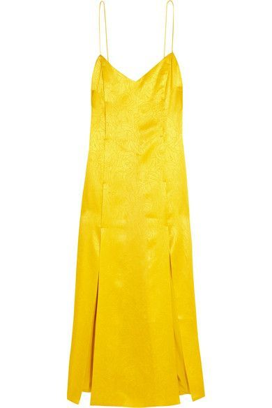 Topshop Unique - Floral Fatale Silk-jacquard Dress - Yellow - UK12
