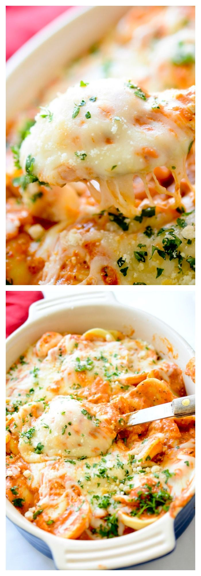Creamy Baked Ravioli - Recipe Dairies #cheesy