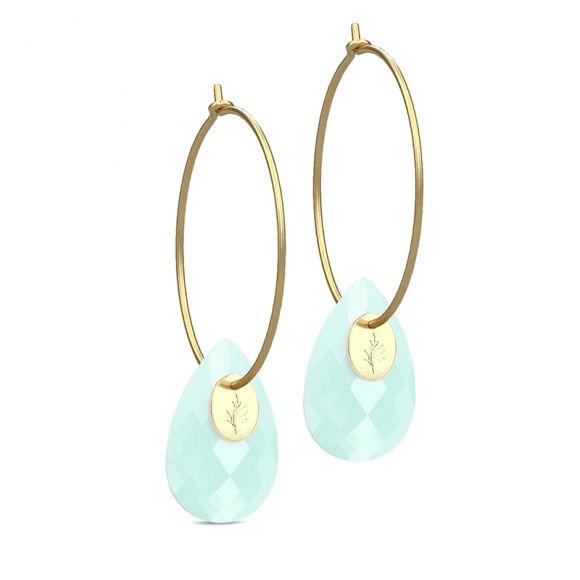 Julie Sandlau green chalcedony gold hoops