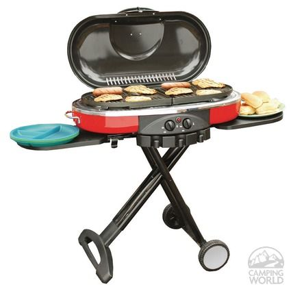 The Coleman RoadTrip Grill ($160 from Camping World) is a compact, portable gas grill that also works as a griddle or a stove. Description from themorningnews.org. I searched for this on bing.com/images