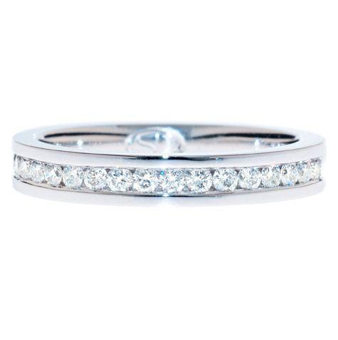 BRILLIANT CUT DIAMOND CHANNEL SET BAND Classic Crisp Row Of Brilliant Cut Diamonds Perfectly Wedding BandsBrisbaneCrispChannelWhite GoldAuWedding