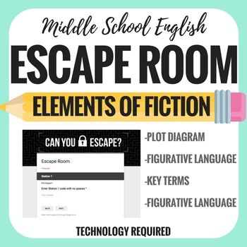 This Elements of Fiction Escape room is great for beginning of the year review and pre-assessment. It is also great for the end of the year review before and after state tests.Students will need to access a google form, so any technology that allows them to access and complete a google form will work!There are 4 stations they must complete to escape.Station 1Students will label the parts of the plot diagram.