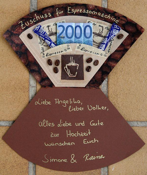 Bildergebnis für geldgeschenk basteln kaffeemaschine