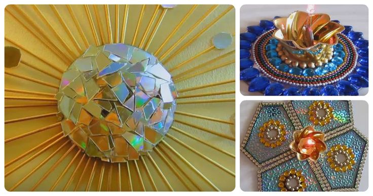 [Videos] 6 DIY Recycled CD Craft Projects -  http://www.gottalovediy.com/wp-content/uploads/sites/1137/2015/12/cdvid7.jpg - See 6 different video tutorials for Recycled CD Craft Projects for making wall hangings, christmas ornaments, candle holders and Rangoli.   - http://www.gottalovediy.com/recycled-cd-craft-projects/